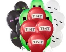 Lot of 25 birthday party  gamer  MINECRAFT balloons green white black and tnt