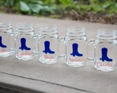Bachelorette mason jar. Personalized glasses with cowboy boot and name. Nashville bachelorette, last rodeo, final fling, cowgirl, navy coral