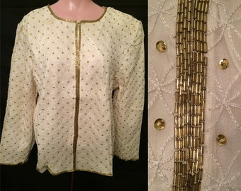 Ivory and Gold Jacket  # 2431