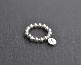 Sterling Silver Charm Letter Ring