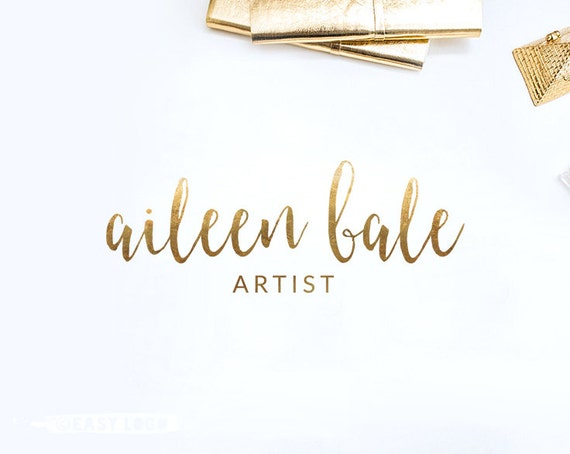 Simple gold calligraphy logo design watercolor brush font