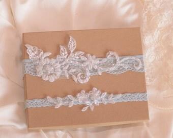 Something blue wedding garter set, wedding garter set, bride garter, blue bridal garter, vintage garter,