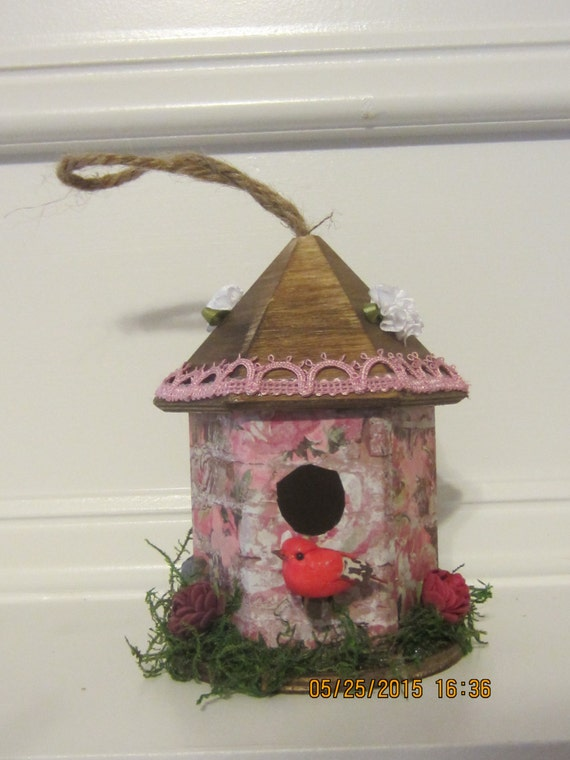 Decorated Bird House Indoor Decor Wooden Birdhouse Small