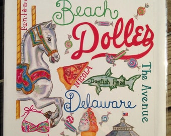 Rehoboth Beach Print includes Dolles, Funland, Nicola, Dogfish Head, Kohr Bros, Lilly Pulitzer, Delaware
