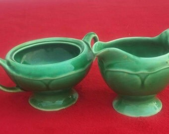 Beautiful vintage green creamer and sugar bowl