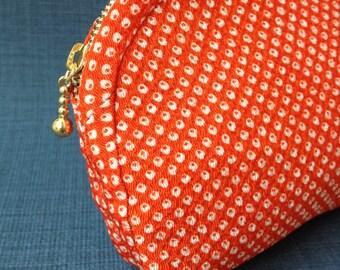Zipper Pouch,orange kanoko  chirimen silk,vintage1980S