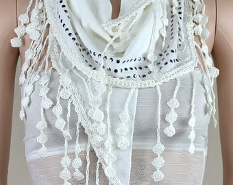 White lace knitting triangle scarf, silver rivets adornment scarf, shawl, scarf