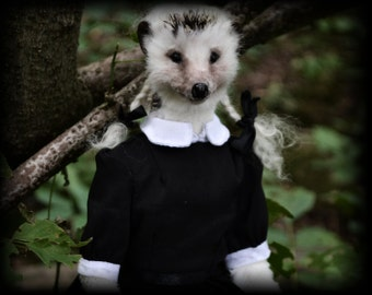 Lenore, Artist Girl Hedgehog Anthropomorphic Furry Doll hand made of Synthetic fur, movable
