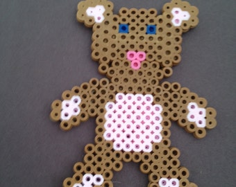 Perler Bead Pink and Brown Teddy Bear