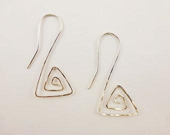 Geometric Spiral Silver Earrings