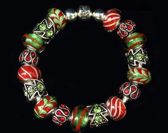 Genuine Pandora Bracelet - HOLIDAY CHARM - with Red and Green European Style Beads