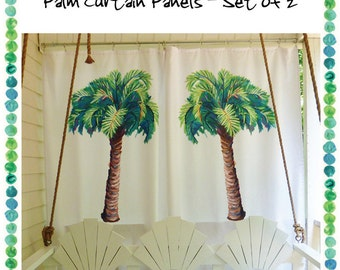 Palm Curtain Panels - Set of 2