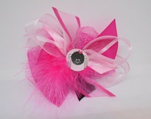 Organza pink Halloween spider hair bow handmade for infant toddler little girls dress shirts tutu outfits Halloween Costume tulle marabou