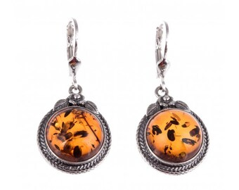 "Silver earrings with amber ""Aitra"""
