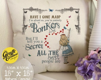 ALICE IN WONDERLAND Large Cotton Canvas Cushion Cover Mad Hatter Tea Party Bonkers Hearts