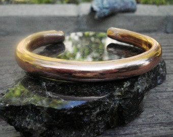 Hollow copper Bangle and Cuff Bracelet. 9.3mm  wide and not heavy.