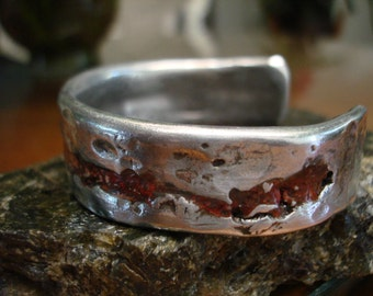 Red Rhyolite Aluminum Cuff.3.5mm thick and 19.5mm wide. Rhyolite Inlay.
