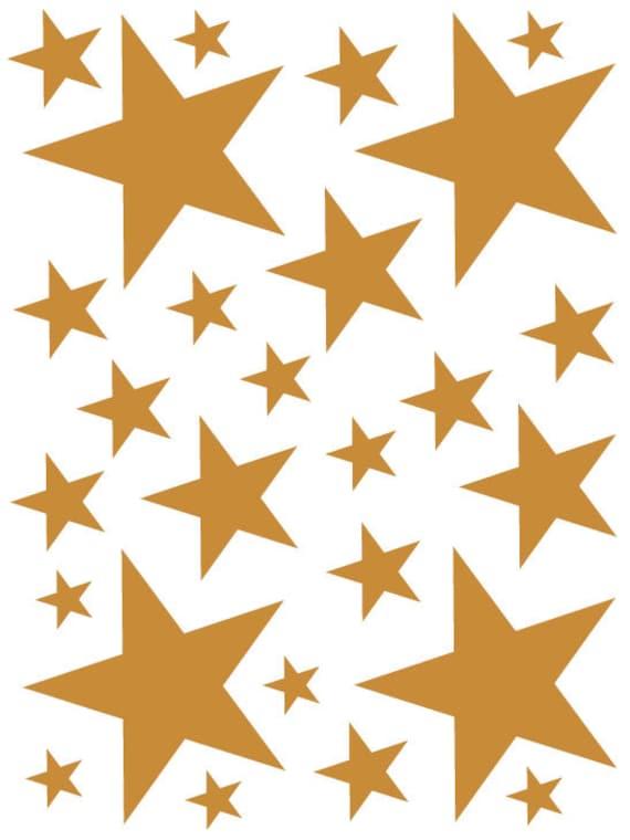 52 Caramel Tan Vinyl Star Shaped Bedroom Wall Decals Stickers Teen Kids Baby Nursery Dorm Room Removable Custom Made Easy to Install