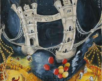 Poster of Tower Bridge, London river picture, Tower bridge picture, London canvas, Tower bridge print, Uk art print, London art print