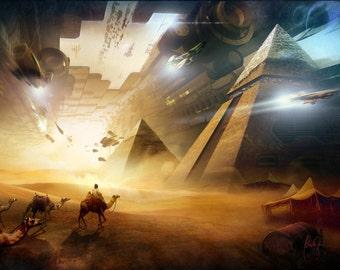 Egyptian art, Egypt art,  Surreal art, Psychedelic art, pyramids, fantasy art, Pyramids picture, Pyramids poster
