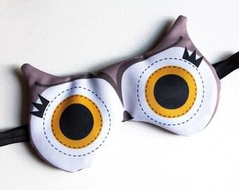 Hibou brun Masque de sommeil AJUSTABLE en velours | Pour les voyages, les quarts de travail, la méditation et pour soulager les migraines.