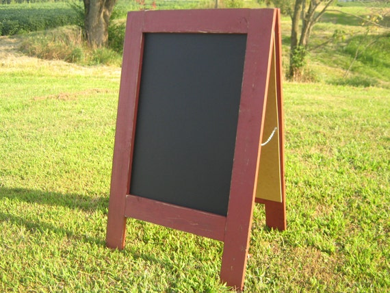 Two sided sandwich chalkboard country redwood red color sidewalk chalkboard double sided rustic distressed outdoor chalk board a frame