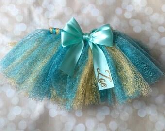Baby Tutu Skirt - Personalized - First Birthday Tutu - Satin Ribbon Tutu - Glitter Tutu - Gold and Aqua - Princess Tutu - Ballerina Tutu