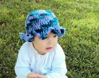 Blue Ruffled Baby Hat