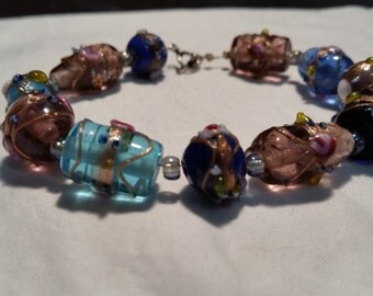 Czech Glass Lampwork beaded bracelet with Sterling Silver clasp