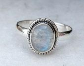 Rainbow Moonstone Ring, Rainbow ring, silver ring,  silver MoonStone ring, stone ring,92.5 sterling silver, US size 5 6 7 8 9 10 11 12