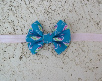 Flamingo  hair bow, bow headband
