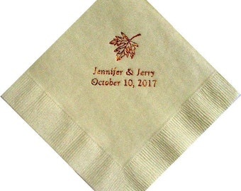 Fall Leaf Personalized Beverage Wedding Napkins