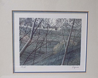 1985 Robert Kipniss Signed Limited Edition Lithograph 'Approaching Town' Numbered 74/175 Professionally Framed with COA and Artist Bio