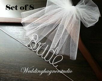 10% OFF on SET of 8 single hangers/ Wedding hangers / birde hangers