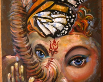 Oil paintings on canvas - large - surrealism - mantra -  elephant - butterfly - yellow - wall painting - paintings - ganescha - original art