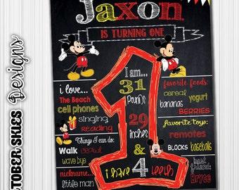 Mickey Mouse Chalkboard / Birthday Chalkboard / Chalkboard Poster / Printable / Custom / 1st year / Printable Chalkboard