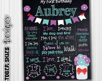 Mason Jar Birthday Chalkboard, Printable, Announcement, Sign Poster, Digital File, Any age
