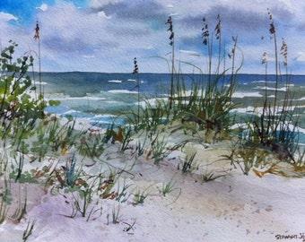 Beach painting, Sand Dunes, Original Watercolor Painting, seascape