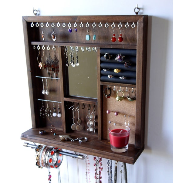 Decorative Wall Mirror Jewelry Organizer : Jewelry display mirror earrings necklace holder