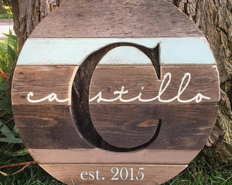 """18"""" Reclaimed Wood Monogram Cutout, Personalized Last Name Sign, Wedding Gift, Anniversary Gift"""