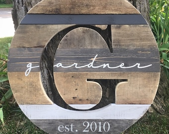 """24"""" Reclaimed Wood Monogram Cutout, Personalized Last Name Sign, Wedding Gift, Anniversary Gift"""
