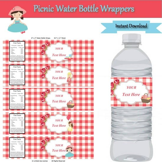 picnic party water bottle label wrappers instant download editable template type your own text. Black Bedroom Furniture Sets. Home Design Ideas