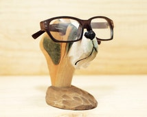 Wooden animal-Dog Glasses Holder for Men - Carved Wood -  Wooden Nose - sunglasses holder - glasses stand - sunglasses stand -  good dog