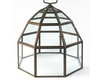 Wide Octagonal Copper and Glass Opening Door Cloche