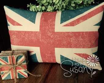 "Distressed Union Jack Pillow Cover of Natural 100% Cotton Canvas or Lined Burlap | 12"" x 18"" or 16"" x 23"""