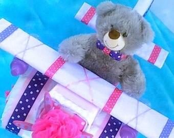 Baby Girl Diaper Cake - Airplane Diaper Cake - Diaper Cakes - Unique Baby Shower Gift - Baby Shower Centerpiece