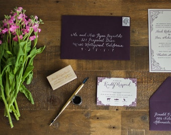 Tradtional Wedding Invitation Set - Custom Design & Letterpress