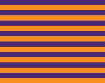 Knit Purple/Orange Stripes Fabric 1 yard