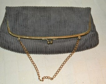 Harry Levine / purse / gray / HL USA / gold trim / gold  / vintage purse / evening bag / corduroy / designer / vintage / gray purse