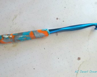 Crochet Hook, Blue, Customized Fat Handle, Polymer Clay, Size N, CLEARANCE PRICE